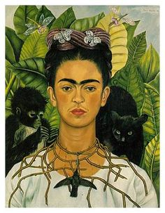 Self Portrait with Thorn Neclace and Hummingbird.  Frida Kahlo