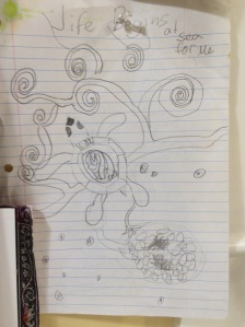 Dana's drawing inspired by a baby sea turtle sighting in Mexico