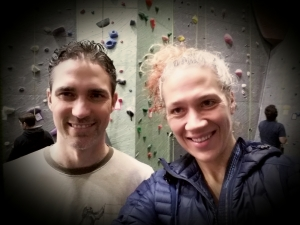 My husband and I at Vertical World. Our date nights often start at the climbing gym and end at some excellent Seattle restaraunt