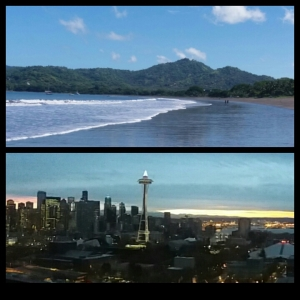 Playa Potrero, Costa Rica and Seattle Cityscape and Sunrise